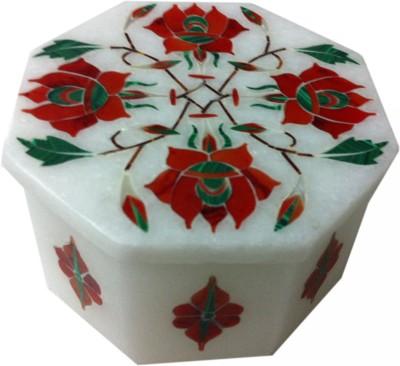 Unique Handicrafts Orange, White Octagonal Box - 1