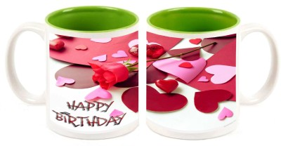 Happy Birthday Green Inner Colour Mugs multi colour ceramic mug - 325 ml
