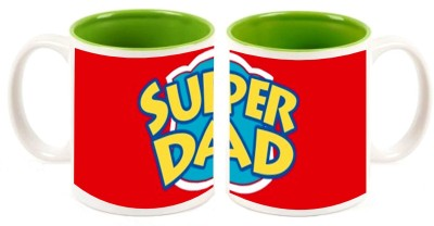 Combo Super Mom and Dad Inner Green Mugs multi colour ceramic mug - 325 ml