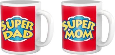 Combo Super Mom and Dad Coffee Mug Multicolour Ceramic Mug - 325 ml