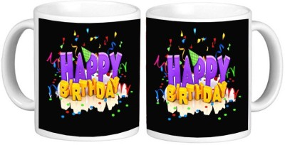 Happy Birthday Gift Mug Multicolour Ceramic Mug - 325 ml