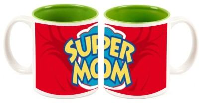 Super Mom Inner Green Mugs multi colour ceramic mug - 325 ml