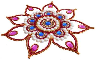 Susajjit Pink, Blue Decorative Kundan Rangoli - 1