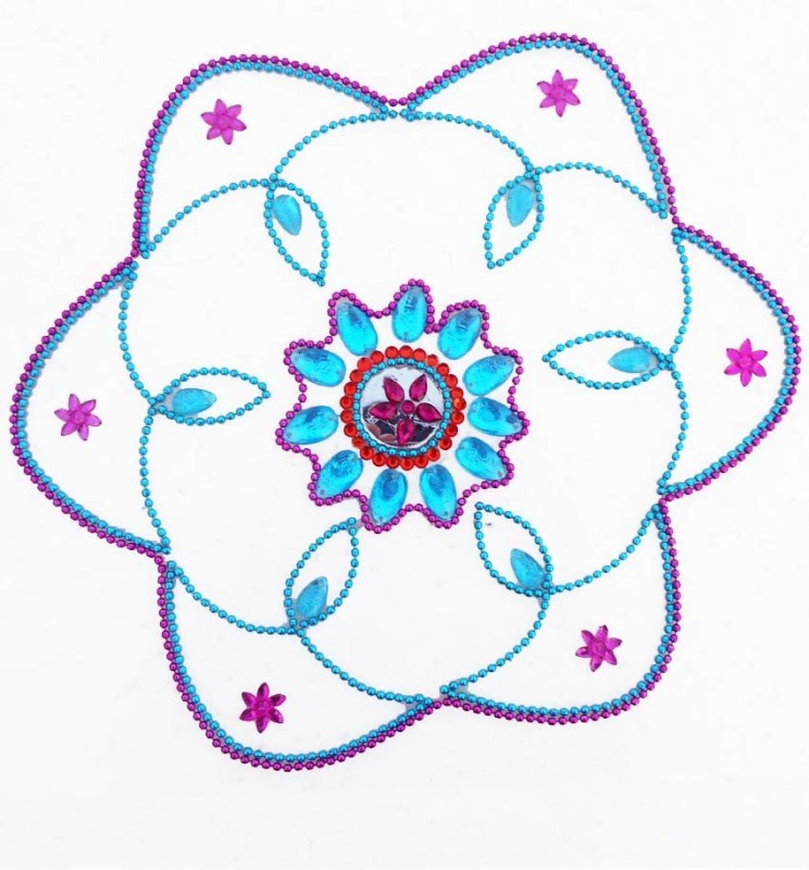 Susajjit Pink, Blue Decorative Kundan Rangoli - 1