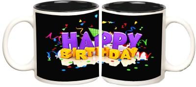 Happy Birthday Black Inner Colour Mugs multi colour ceramic - 325 ml