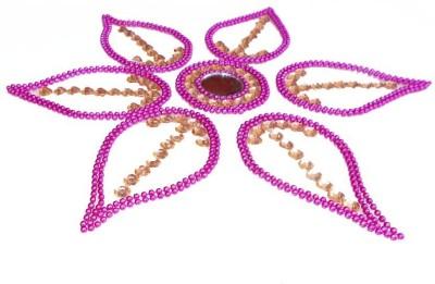Susajjit Pink, Golden Decorative Kundan Rangoli - 1