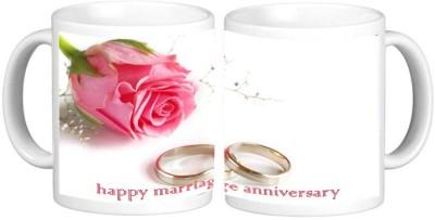 Happy Anniversary Ceramic Mug Multicolour Ceramic Mug - 325 ml