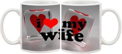 Combo Wife & Husband I Love You Multicolour Ceramic Mug - 335 ml