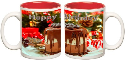 Happy Birthday Red Inner Colour Mugs multi colour ceramic mug - 325 ml