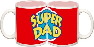 Data Express - Super Dad Pink Inner Mug Off White Ceramic - 325