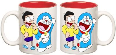 Doraemon Red Inner Colour Mugs multi colour ceramic mug - 325 ml