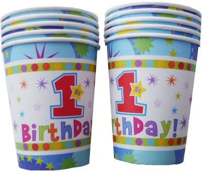 Party Anthem Multicolor 1st Birthday Blue Paper Cups(Pack of 20) - 5
