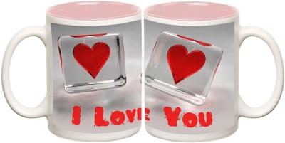 Data Express - Love Pink Inner Mug Off White Ceramic - 325