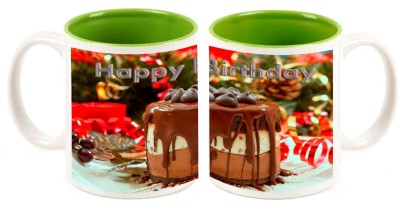 Happy Birthday Green Inner Mugs multi colour ceramic mug - 325 ml