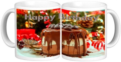 Happy Birthday Mug Multicolour Ceramic Coffee Mug - 325 ml