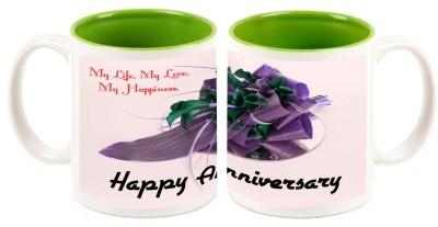 Happy Anniversary Green Inner Colour Mug multi colour ceramic - 325 ml
