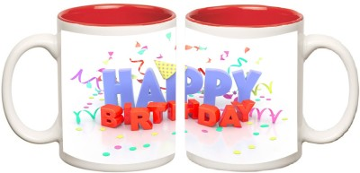 Happy Birthday Inner Red Mugs multi colour ceramic mug - 325 ml