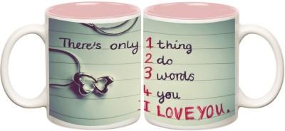 Love Inner Pink Colour Mug Off white Ceramic - 50 ml