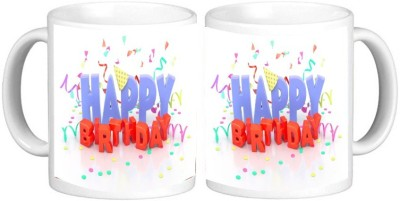 Happy Birthday Mug Multicolour Ceramic Mug - 325 ml
