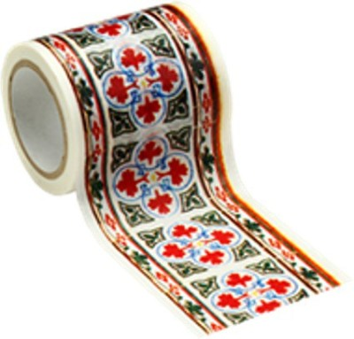 Decolfa Red, White Decorative Tape (50mm x 8mtr) - 1