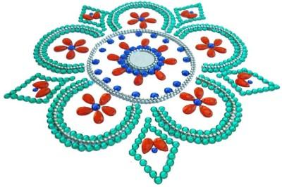 Susajjit Orange, Cyan Decorative Kundan Rangoli - 1