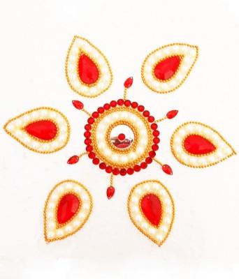 Susajjit Red, Cream Decorative Kundan Rangoli - 1