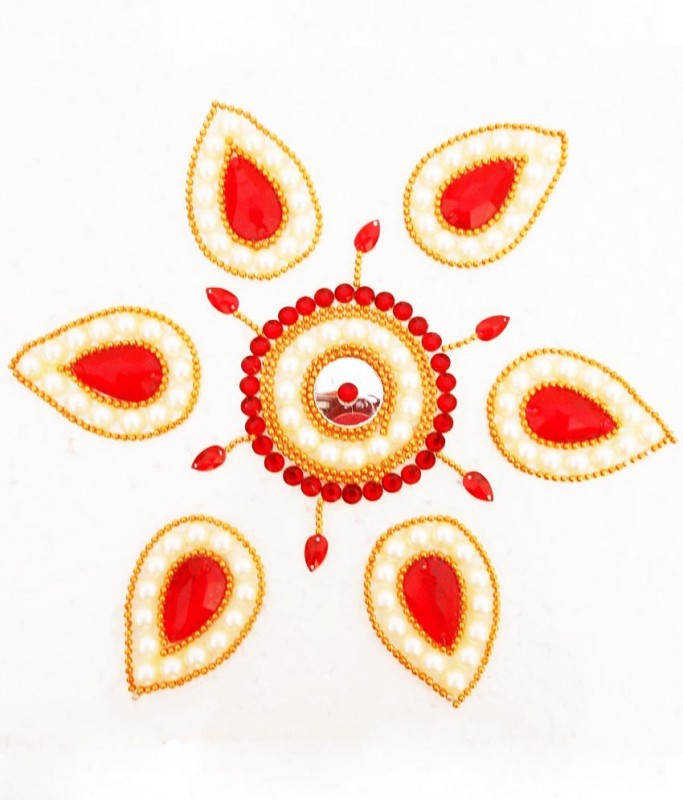 Susajjit Red, Cream Decorative Kundan Rangoli - 1