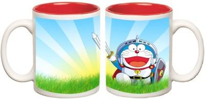 Doraemon Red Inner Mug multi colour ceramic mug - 325 ml