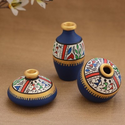 Unravel India Teracotta Blue Warli handpainted Decorative Pot(Set of 3) Decorative Bottle(Pack of 3)