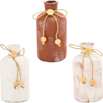 Obvio White table bottle Decorative Bottle(Pack of 3)