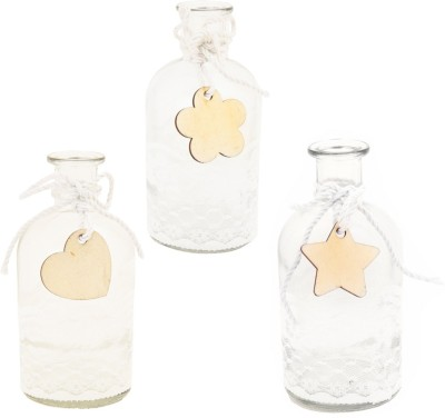 Obvio Transperent glass Decorative Bottle(Pack of 3)
