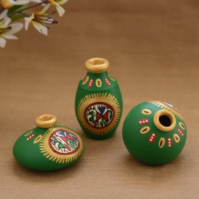 Unravel India Teracotta Green Warli handpainted Decorative Pot(Set of 3) Decorative Bottle(Pack of 3)