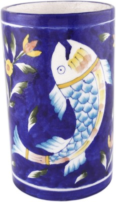 Pandora's Art Blue Pottery Cylinder Fish Type Flower Pot 6, Decorative Bottle