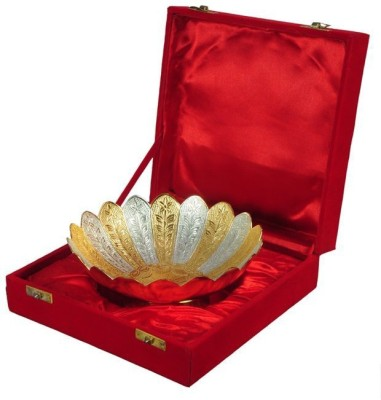 Being Nawab Two-tone Handcrafted Lotus Bowl Brass Decorative Platter