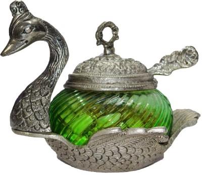 eCraftIndia Aluminium, Crystal Decorative Platter(Silver, Green)