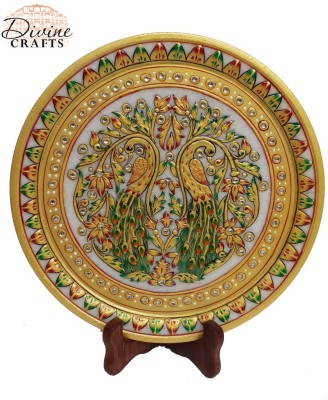 Divinecrafts Golden Peacock Painted Marble Plate Stoneware Decorative Platter