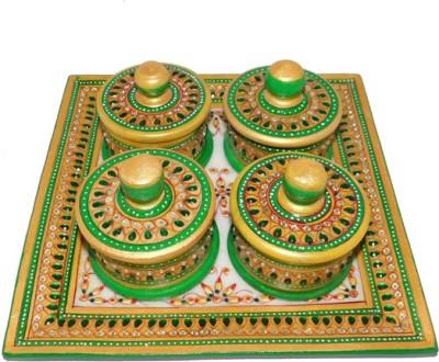 Chave Marble Supari Daan (Tray and Dibbi) with Real kundan work of Rajasthan - Green Color - Set of 4 Stoneware Decorative Platter