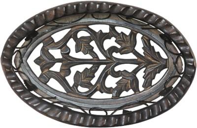 Apkamart Handcrafted Wood and Iron Basket Wooden Decorative Platter(Brown)