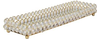 @home Crystal Decorative Platter(Gold)