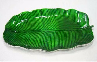 Aadyan Creations Aluminium Decorative Platter(Green)