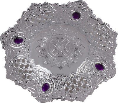 Bagathon India Round Silver Attractive Plastic Decorative Platter
