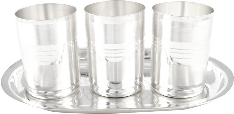Jaipurikala Pack of 4 Dinner Set(Silver Plated)