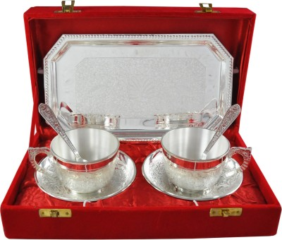 RajLaxmi RajLaxmi Silver Plated Tea Cup Set Bowl Spoon Tray Serving Set(Pack of 7) at flipkart