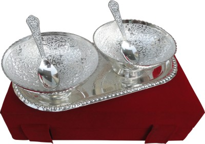 Tiedribbons Exotic Serving Two Bowl and Spoons with Tray_Silver metal Brass Decorative Platter(Multicolor)