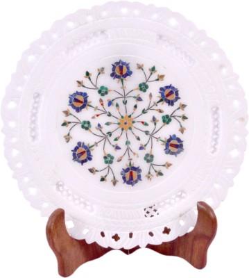 Avinash Handicrafts White Stone Inlaid Plate 9 Stoneware Decorative Platter