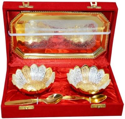 Beyond D Imagine Kamal Bowl Brass Decorative Platter(Gold, Silver, Pack of 6)