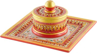 Chave Tray and Dibbi with Real kundan work of Rajasthan – Red Color - Set of 1 Stoneware Decorative Platter