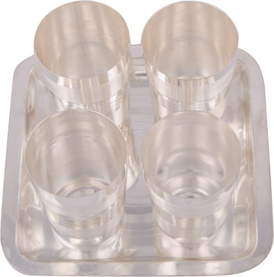 Silver Wilver Glass Tray Serving Set(Pack of 5)
