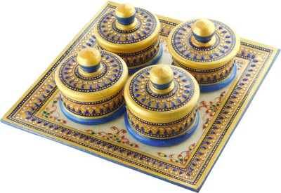 Chave Marble Supari Daan (Tray and Dibbi) with Real kundan work of Rajasthan - Blue Colour - Set of 4 Stoneware Decorative Platter