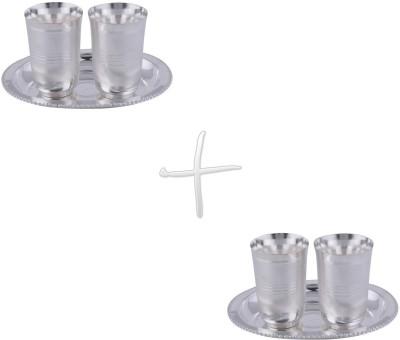GS Museum Juli Diamond Glass 2 Set Dinner Set(Silver Plated)